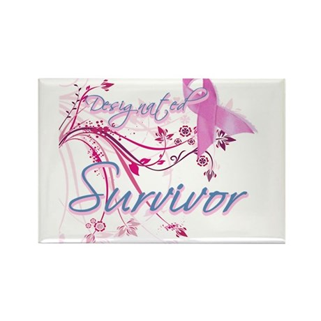 Pink Ribbon Survivor Rectangle Magnet (100 pack)