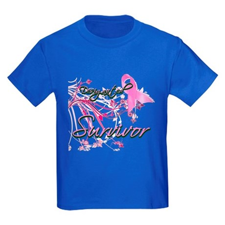 Pink Ribbon Survivor Kids Dark T-Shirt