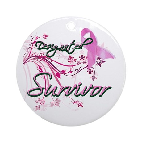 Pink Ribbon Survivor Ornament (Round)