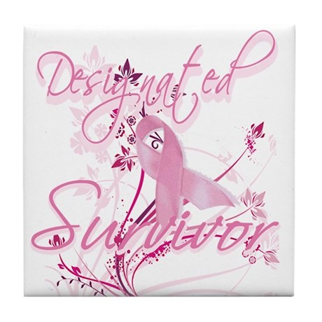 Pink Ribbon Survivor Tile Coaster