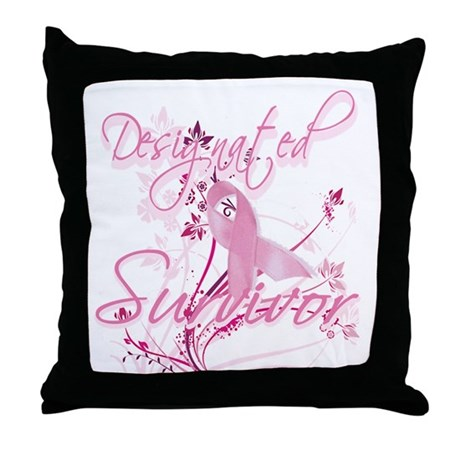 Pink Ribbon Survivor Throw Pillow