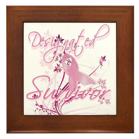 Pink Ribbon Survivor Framed Tile