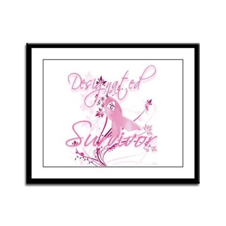 Pink Ribbon Survivor Framed Panel Print