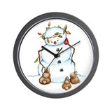 Snowman With Bunnies Wall Clock