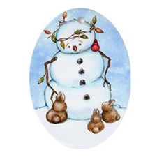 Snowman With Bunnies Oval Ornament