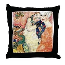 "Gustav Klimt ""Les Amies"" Throw Pillow"