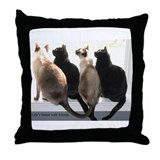 Bird Watching With Cat Friends Throw Pillow