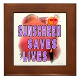 Sunscreen Saves Lives  Framed Tile