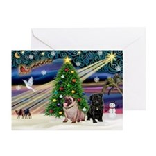 X Mas Magic & Pug Pair Greeting Cards (Pk of 20)
