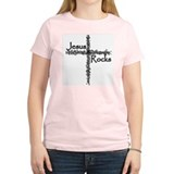 Jesus Rocks Christian Women's Pink T-Shirt