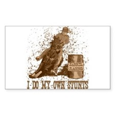 Horse barrel racing. Stunts. Sticker (Rectangular