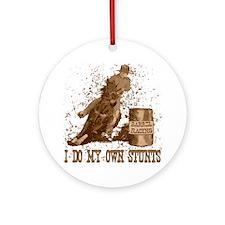 Horse barrel racing. Stunts. Ornament (Round)
