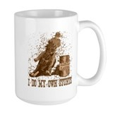 Horse barrel racing. Stunts. Mug