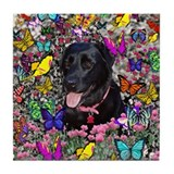 Abby in Butterflies Tile Coaster