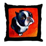 Boston Terrier Dog Throw Pillow 18""