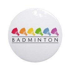 Rainbow Badminton Ornament (Round)