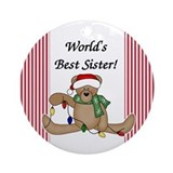 Bear World's Best Sister Ornament (Round)