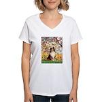 Spring / Sheltie (#1) Women's V-Neck T-Shirt