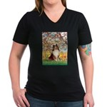 Spring / Sheltie (#1) Women's V-Neck Dark T-Shirt