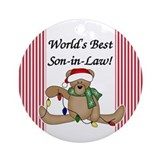 Bear World's Best Son-in-Law Ornament (Round)