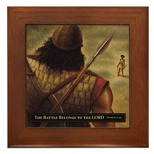David and Goliath Framed Tile
