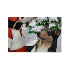 Smooth Collie Christmas Rectangle Magnet (100 pack