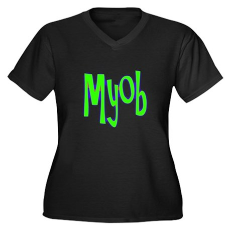 MYOB Women's Plus Size V-Neck Dark T-Shirt