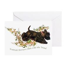 Scottish Terriers run like th Greeting Card