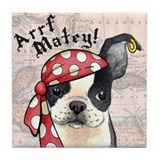 Boston Terrier Pirate Tile Coaster