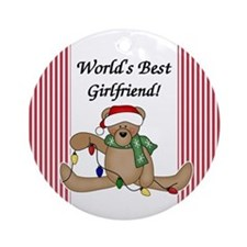 Bear World's Best Girlfriend Ornament (Round)
