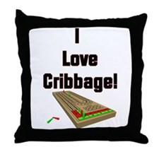 I Love Cribbage Throw Pillow