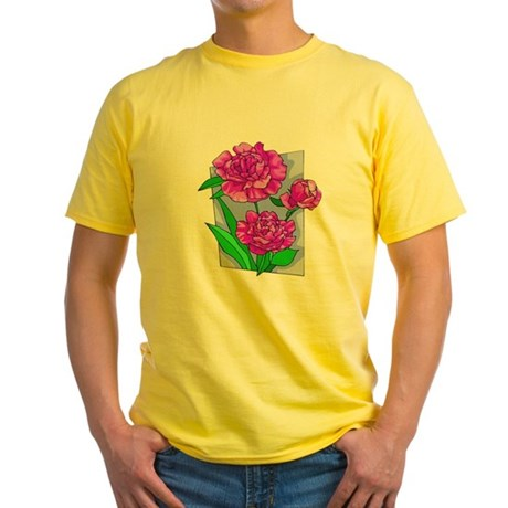 Pink Peonies Yellow T-Shirt