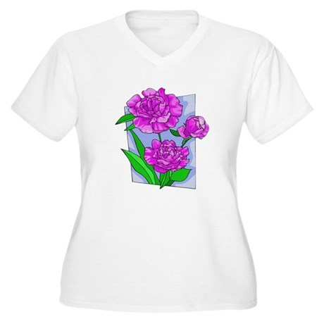Pink Peonies Women's Plus Size V-Neck T-Shirt