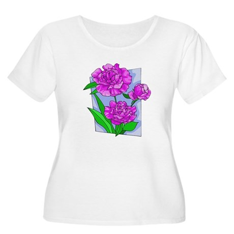 Pink Peonies Women's Plus Size Scoop Neck T-Shirt