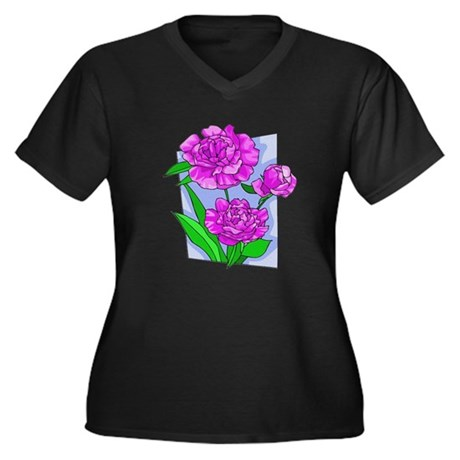 Pink Peonies Women's Plus Size V-Neck Dark T-Shirt