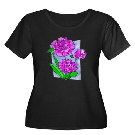 Pink Peonies Women's Plus Size Scoop Neck Dark T-S