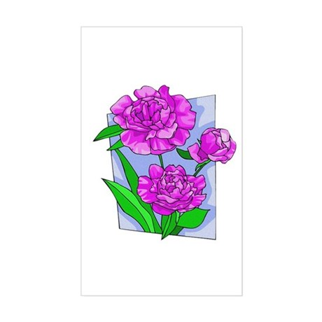 Pink Peonies Rectangle Sticker