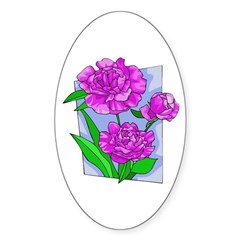 Pink Peonies Oval Sticker
