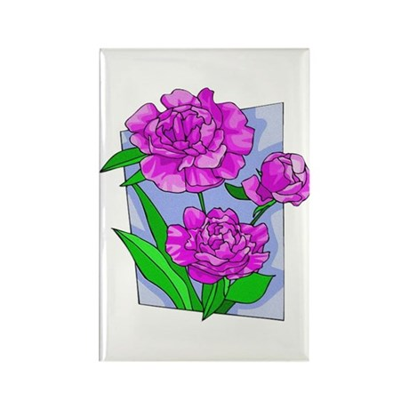 Pink Peonies Rectangle Magnet (100 pack)
