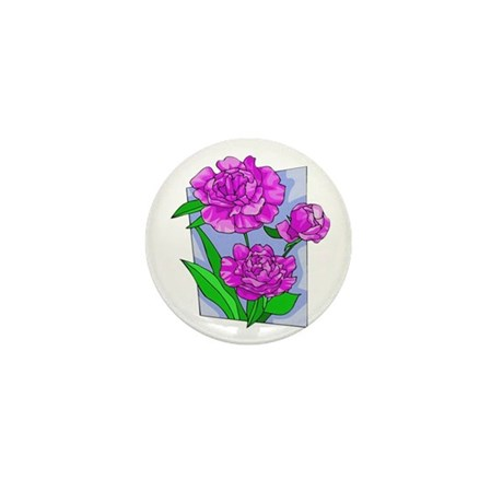Pink Peonies Mini Button (100 pack)