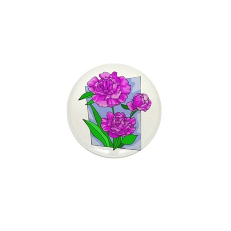 Pink Peonies Mini Button