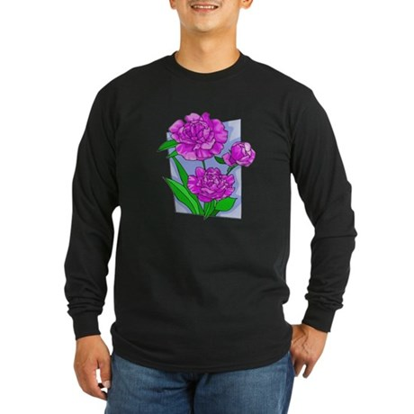 Pink Peonies Long Sleeve Dark T-Shirt