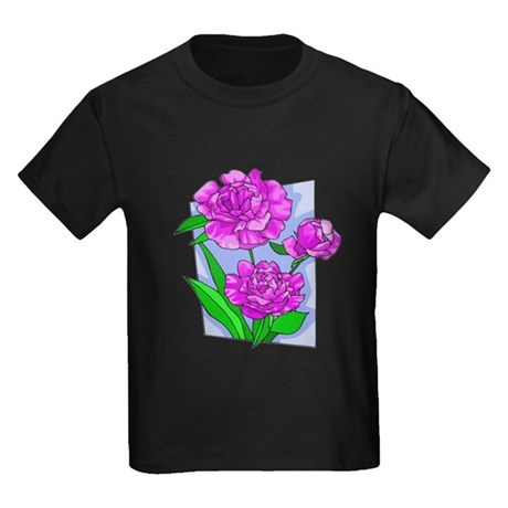 Pink Peonies Kids Dark T-Shirt