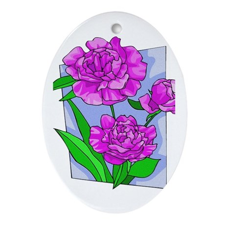 Pink Peonies Oval Ornament