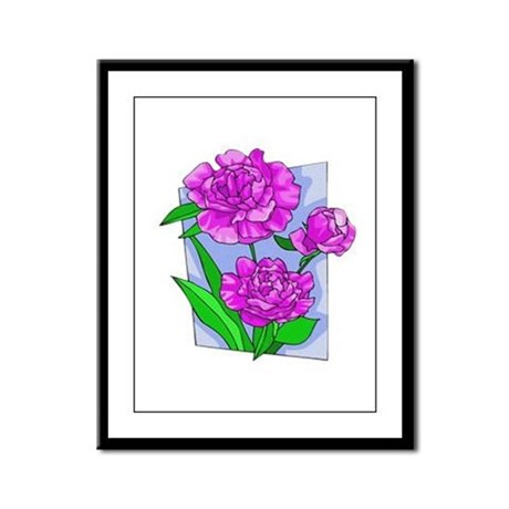Pink Peonies Framed Panel Print