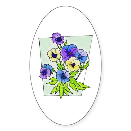 Pansy Oval Sticker