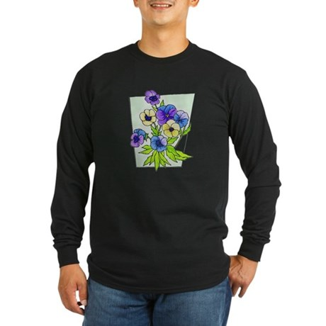Pansy Long Sleeve Dark T-Shirt