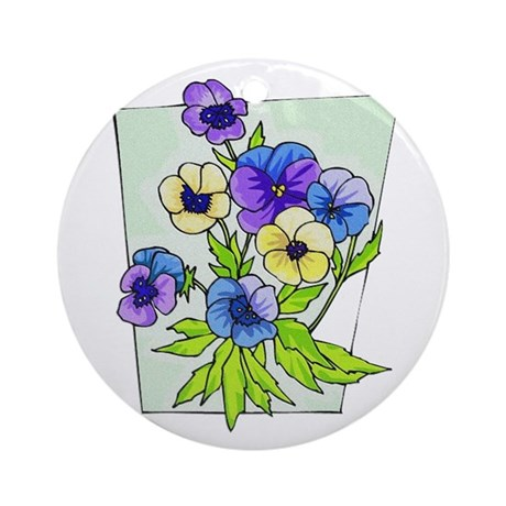 Pansy Ornament (Round)