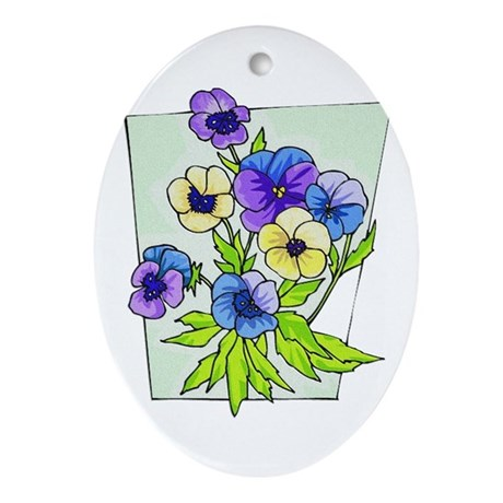 Pansy Oval Ornament