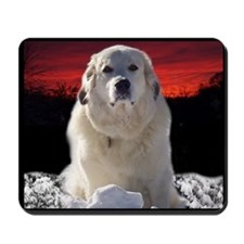 Great Pyrenees Sunset Winter Mousepad